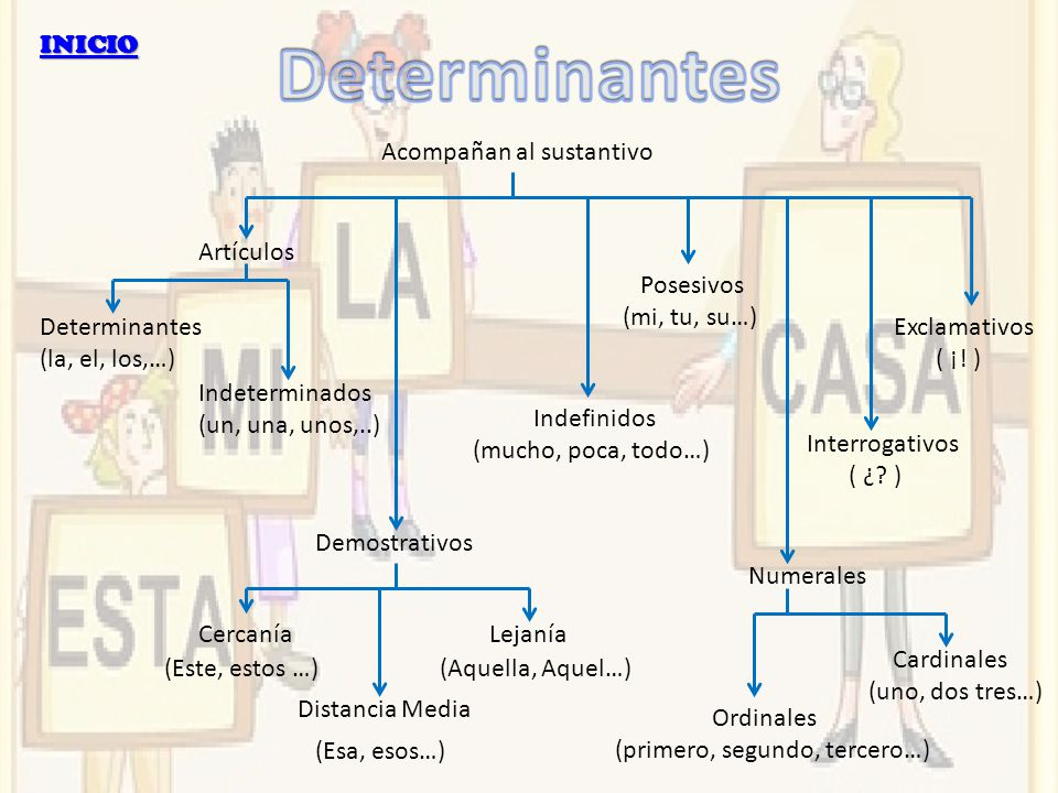 INICIO Acompañan al sustantivo Artículos Determinantes (la, el, los,…) Indeterminados (un, una, unos,..) Demostrativos CercaníaLejanía Distancia Media