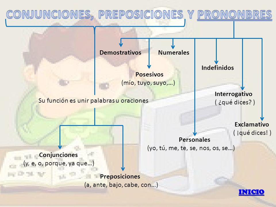 INICIO Su función es unir palabras u oraciones Conjunciones (y, e, o, porque, ya que…) Preposiciones (a, ante, bajo, cabe, con…) Personales (yo, tú, m