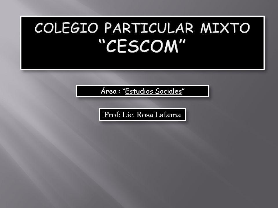 Área : Estudios Sociales Prof: Lic. Rosa Lalama