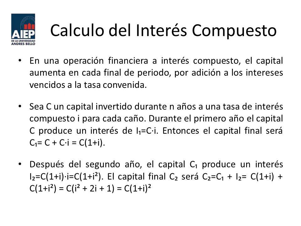 Calculo del Interés Compuesto En una operación financiera a interés compuesto, el capital aumenta en cada final de periodo, por adición a los intereses vencidos a la tasa convenida.