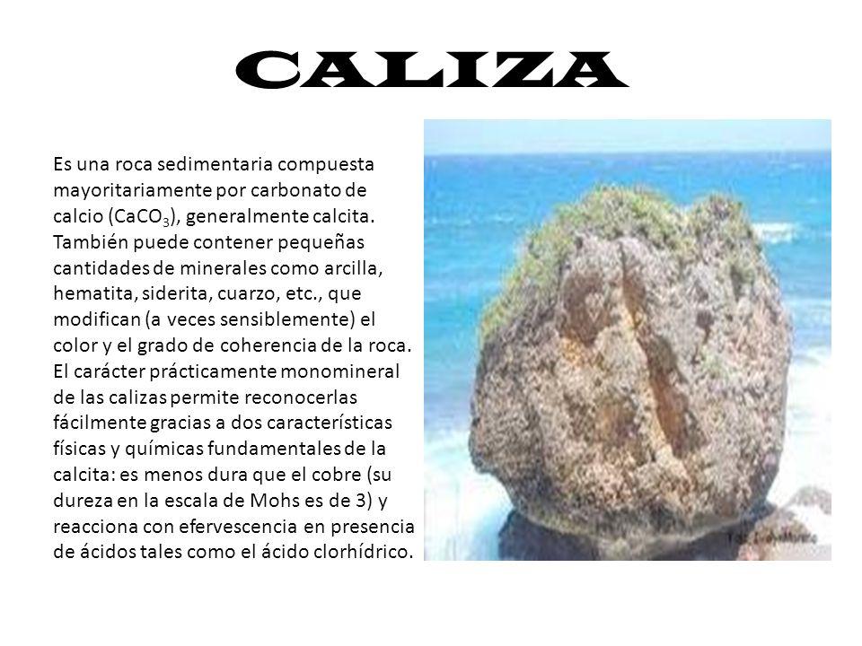 CALIZA Es una roca sedimentaria compuesta mayoritariamente por carbonato de calcio (CaCO 3 ), generalmente calcita. También puede contener pequeñas ca