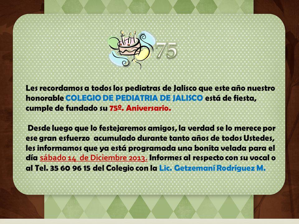IMPORTANTE Estimados Socios : En el Colegio de Pediatría de Jalisco ya tenemos nueva oftalmóloga pediatra, se llama Claudia Carolina Cruz Gálvez, quien se pone a las órdenes con su ayuda profesional; su consultorio lo tiene ubicado por la calle Lerdo de Tejada #2628 Col.