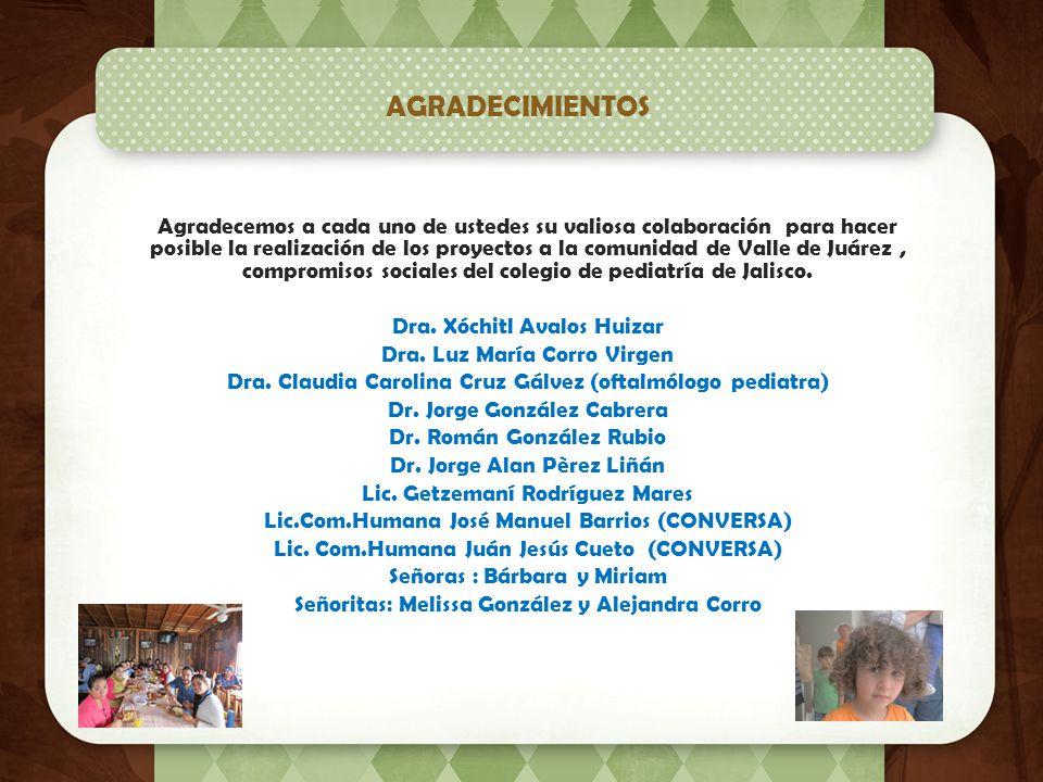 AGRADECIMIENTOS Agradecemos a cada uno de ustedes su valiosa colaboración para hacer posible la realización de los proyectos a la comunidad de Valle de Juárez, compromisos sociales del colegio de pediatría de Jalisco.