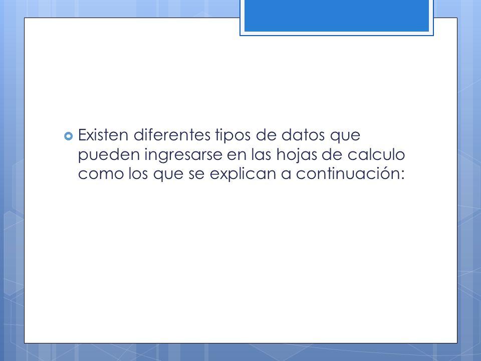Existen diferentes tipos de datos que pueden ingresarse en las hojas de calculo como los que se explican a continuación: