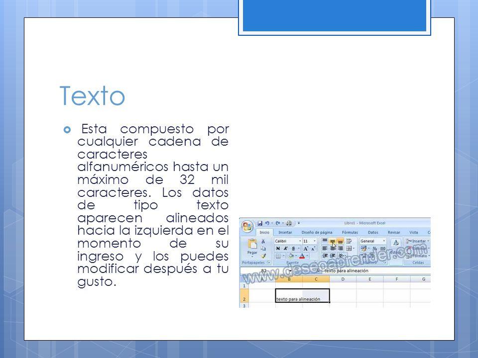 Texto Esta compuesto por cualquier cadena de caracteres alfanuméricos hasta un máximo de 32 mil caracteres.