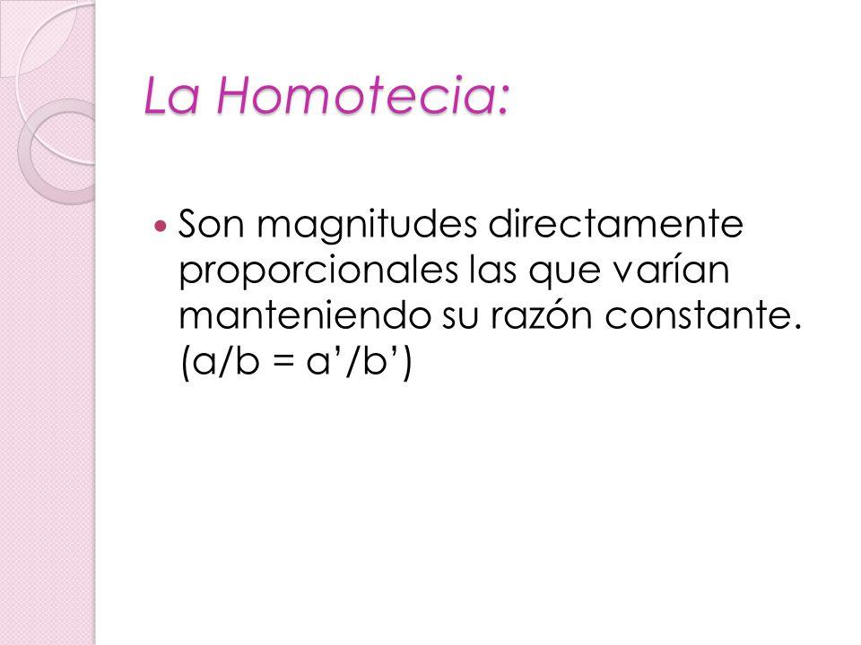 La Homotecia: Son magnitudes directamente proporcionales las que varían manteniendo su razón constante. (a/b = a/b)