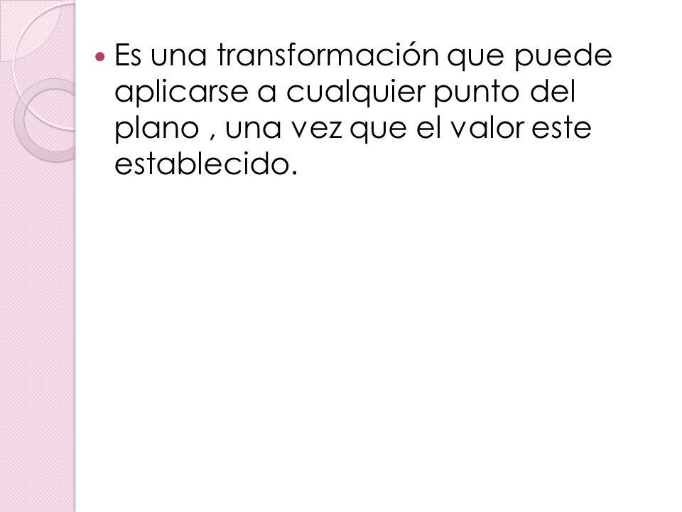Es una transformación que puede aplicarse a cualquier punto del plano, una vez que el valor este establecido.