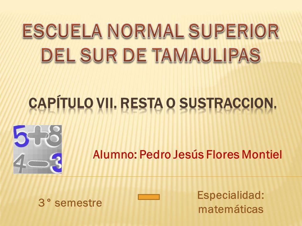 Alumno: Pedro Jesús Flores Montiel 3° semestre Especialidad: matemáticas
