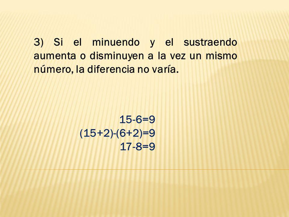 3) Si el minuendo y el sustraendo aumenta o disminuyen a la vez un mismo número, la diferencia no varía. 15-6=9 (15+2)-(6+2)=9 17-8=9