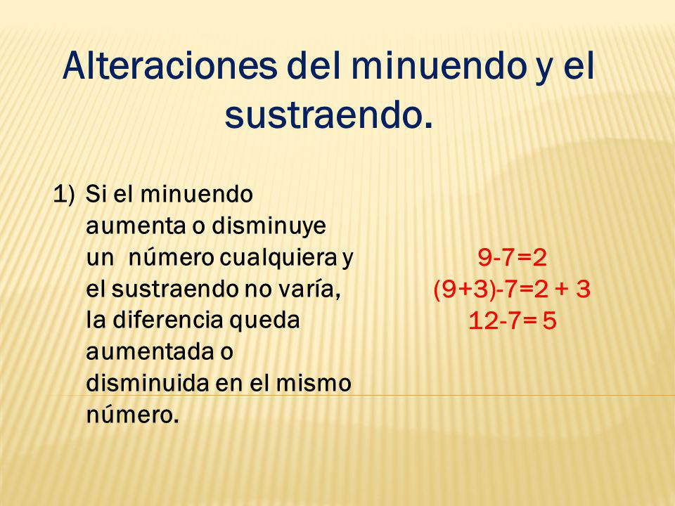 Alteraciones del minuendo y el sustraendo. 1)Si el minuendo aumenta o disminuye un número cualquiera y el sustraendo no varía, la diferencia queda aum