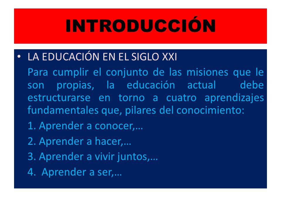 INTRODUCCIÓN LA EDUCACIÓN EN EL SIGLO XXI Para cumplir el conjunto de las misiones que le son propias, la educación actual debe estructurarse en torno a cuatro aprendizajes fundamentales que, pilares del conocimiento: 1.
