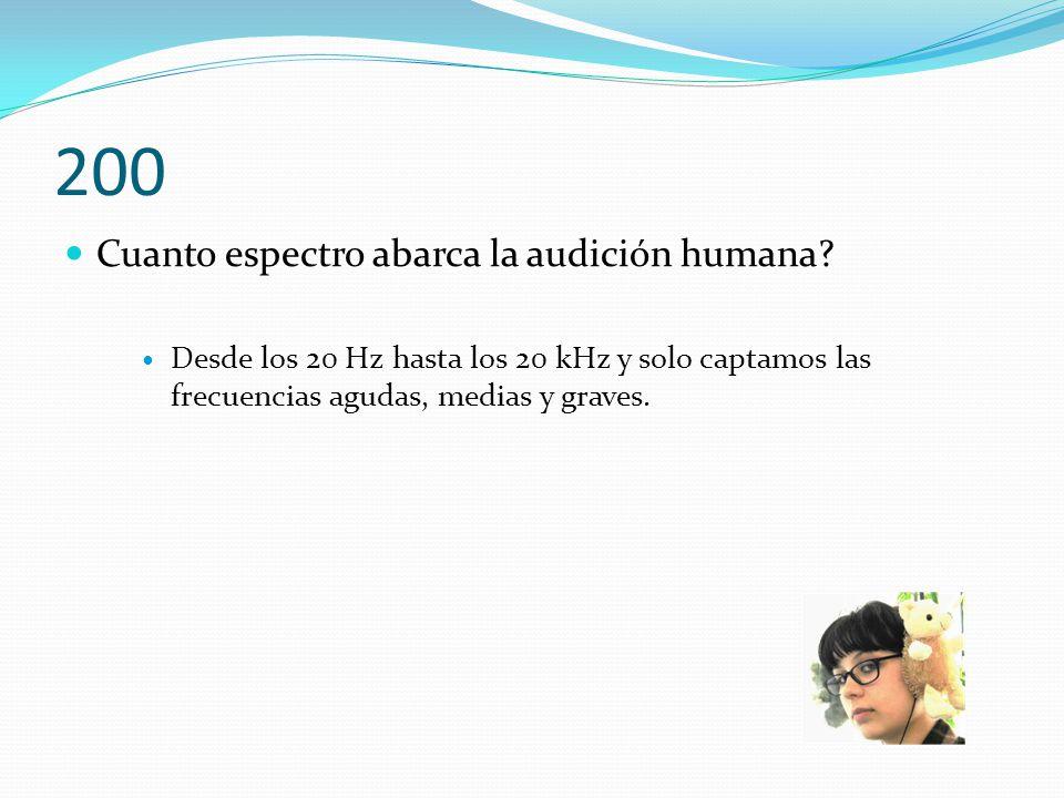 200 Cuanto espectro abarca la audición humana.