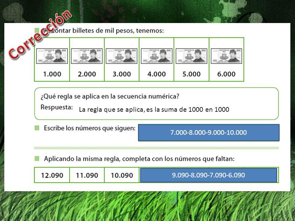 7.000-8.000-9.000-10.000 La regla que se aplica, es la suma de 1000 en 1000 9.090-8.090-7.090-6.090