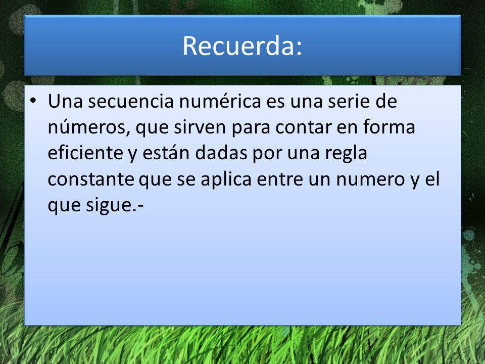 Recuerda: Una secuencia numérica es una serie de números, que sirven para contar en forma eficiente y están dadas por una regla constante que se aplic