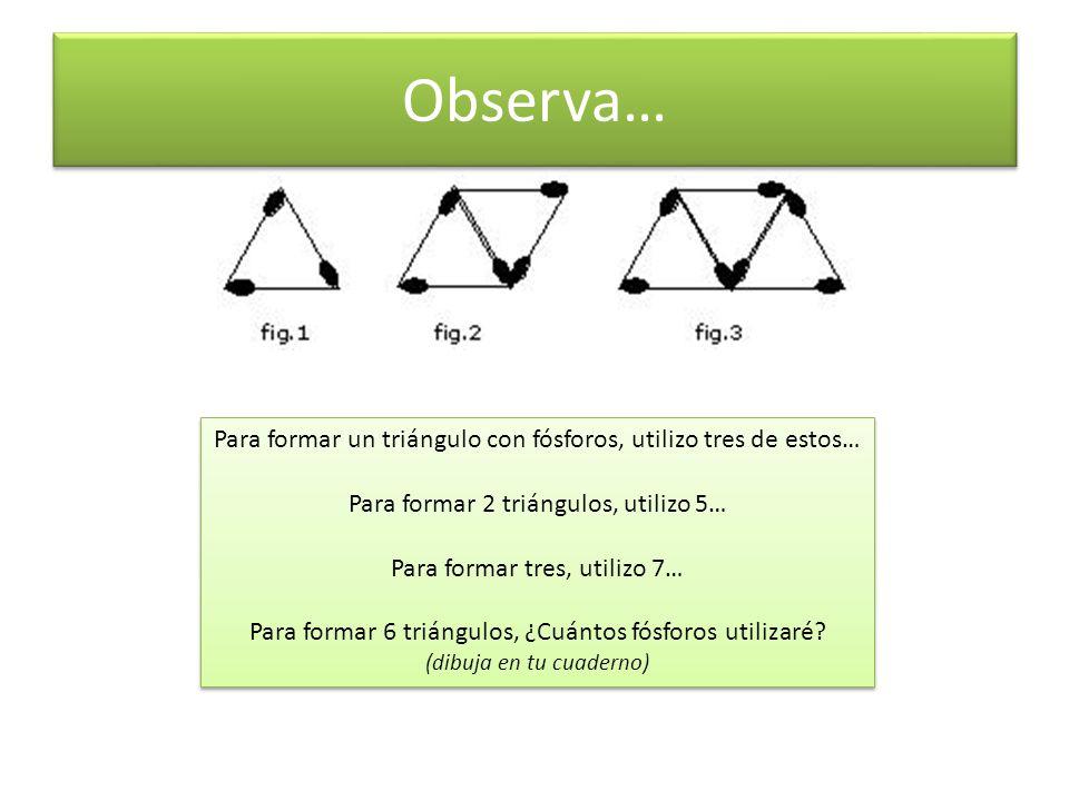 Observa… Para formar un triángulo con fósforos, utilizo tres de estos… Para formar 2 triángulos, utilizo 5… Para formar tres, utilizo 7… Para formar 6