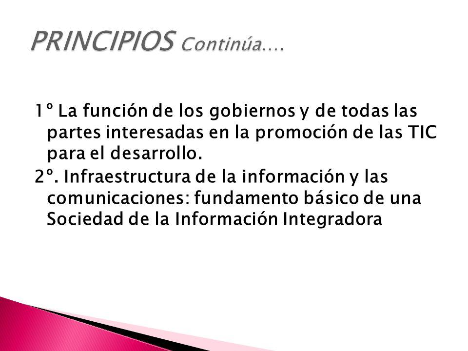 1º La función de los gobiernos y de todas las partes interesadas en la promoción de las TIC para el desarrollo.