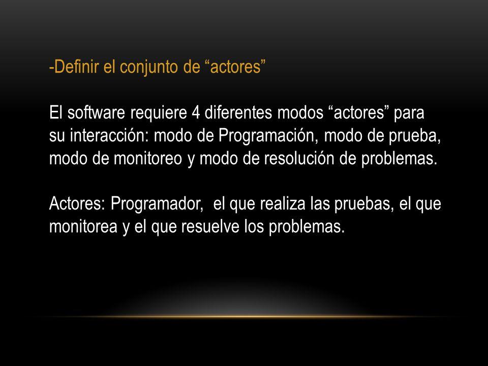 -Definir el conjunto de actores El software requiere 4 diferentes modos actores para su interacción: modo de Programación, modo de prueba, modo de mon