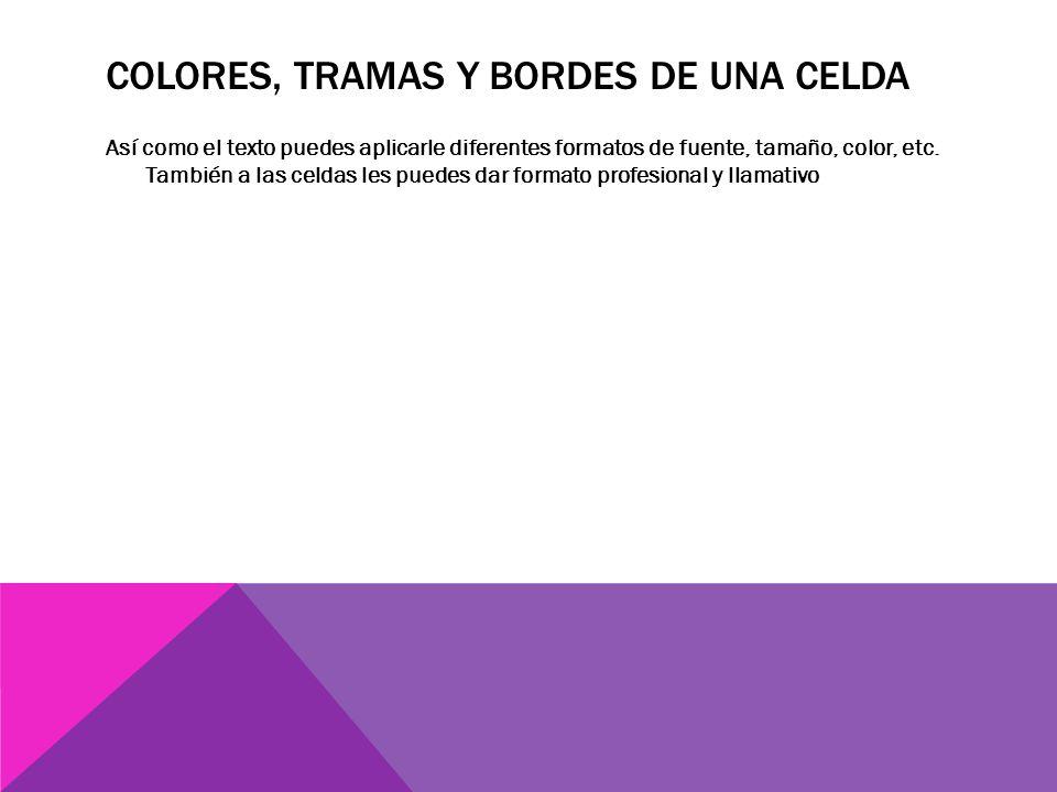 COLORES, TRAMAS Y BORDES DE UNA CELDA Así como el texto puedes aplicarle diferentes formatos de fuente, tamaño, color, etc.
