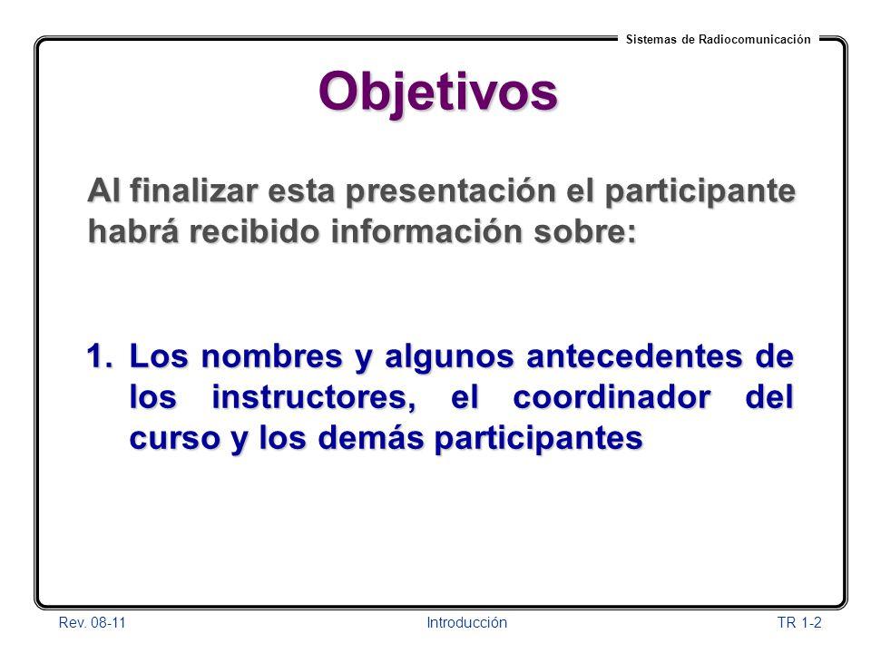 Sistemas de Radiocomunicación Rev. 08-11Introducción TR 1-2 Objetivos 1.Los nombres y algunos antecedentes de los instructores, el coordinador del cur