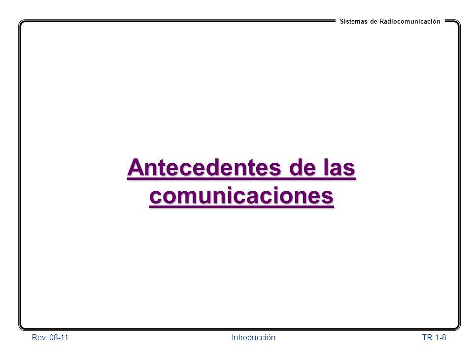 Sistemas de Radiocomunicación Rev. 08-11Introducción TR 1-8 Antecedentes de las comunicaciones