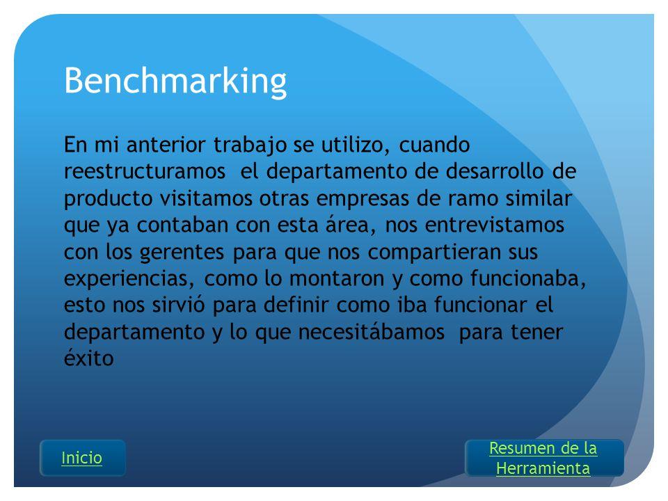 Benchmarking En mi anterior trabajo se utilizo, cuando reestructuramos el departamento de desarrollo de producto visitamos otras empresas de ramo simi