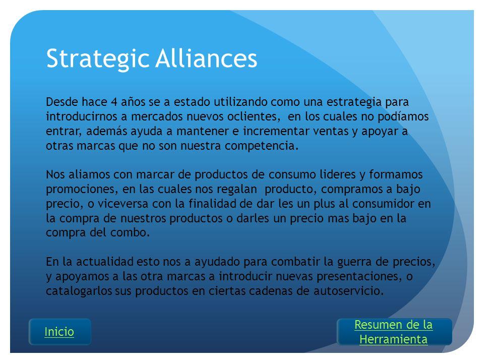 Strategic Alliances Desde hace 4 años se a estado utilizando como una estrategia para introducirnos a mercados nuevos oclientes, en los cuales no podí