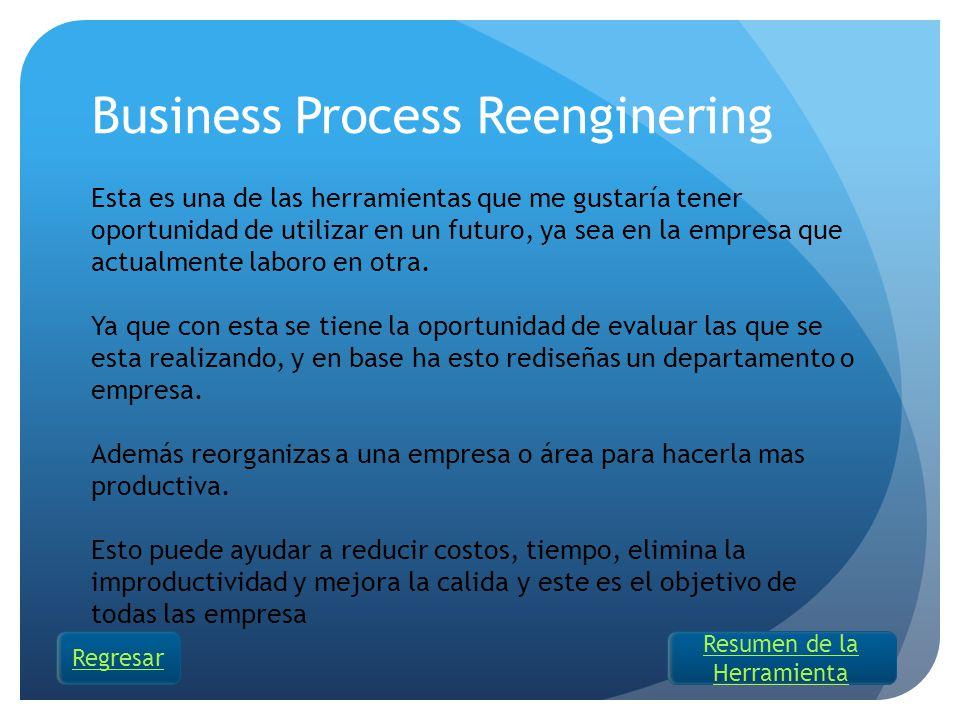 Business Process Reenginering Esta es una de las herramientas que me gustaría tener oportunidad de utilizar en un futuro, ya sea en la empresa que act