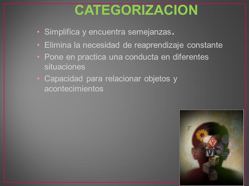 CATEGORIZACION Simplifica y encuentra semejanzas. Elimina la necesidad de reaprendizaje constante Pone en practica una conducta en diferentes situacio