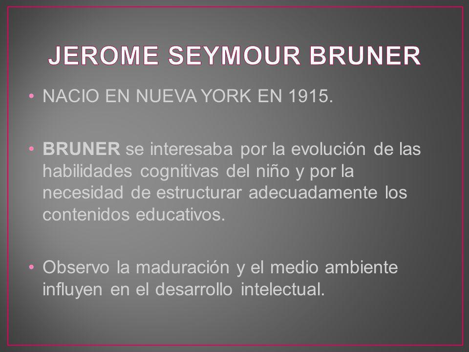NACIO EN NUEVA YORK EN 1915. BRUNER se interesaba por la evolución de las habilidades cognitivas del niño y por la necesidad de estructurar adecuadame