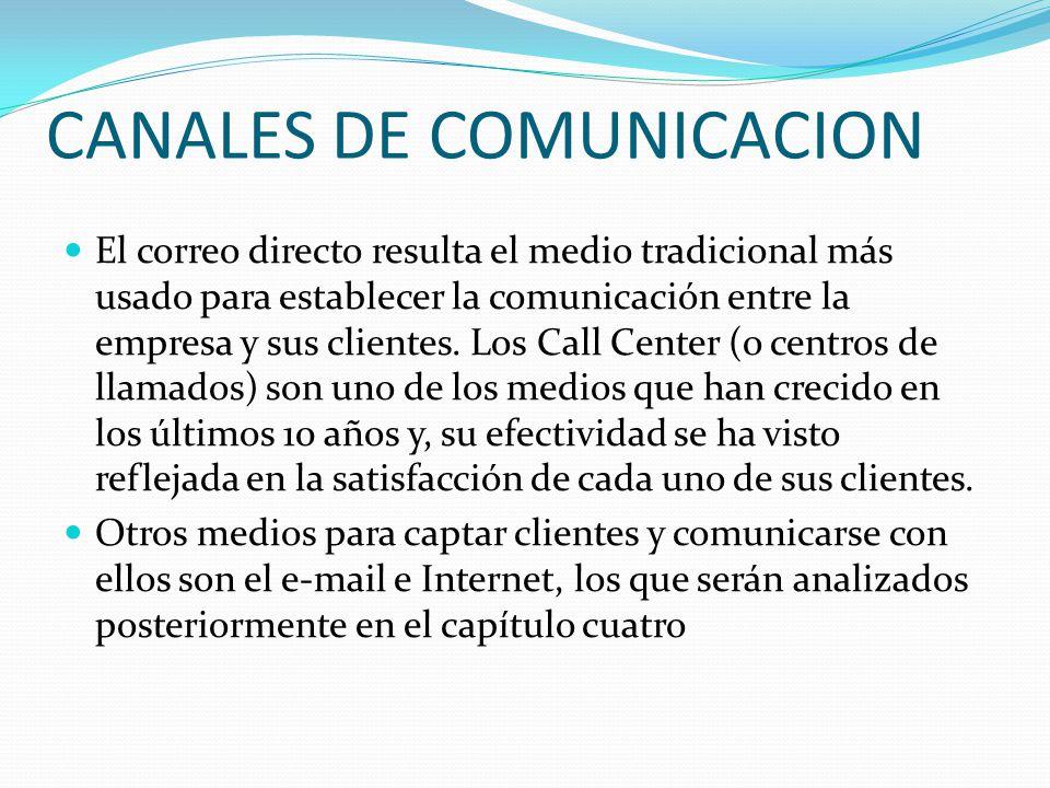 CANALES DE COMUNICACION El correo directo resulta el medio tradicional más usado para establecer la comunicación entre la empresa y sus clientes.