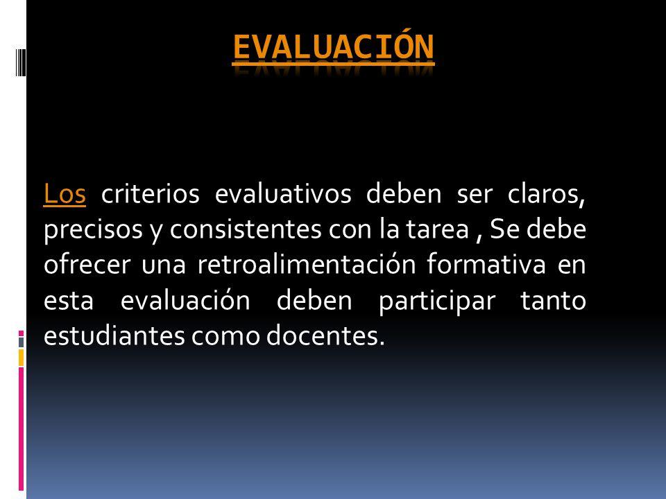LosLos criterios evaluativos deben ser claros, precisos y consistentes con la tarea, Se debe ofrecer una retroalimentación formativa en esta evaluación deben participar tanto estudiantes como docentes.