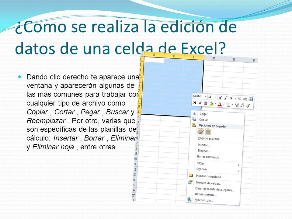 ¿Como se realiza la edición de datos de una celda de Excel? Dando clic derecho te aparece una ventana y aparecerán algunas de las más comunes para tra