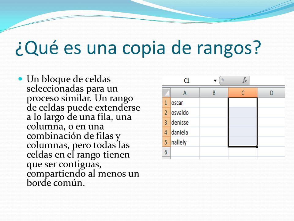 ¿Qué es una copia de rangos? Un bloque de celdas seleccionadas para un proceso similar. Un rango de celdas puede extenderse a lo largo de una fila, un