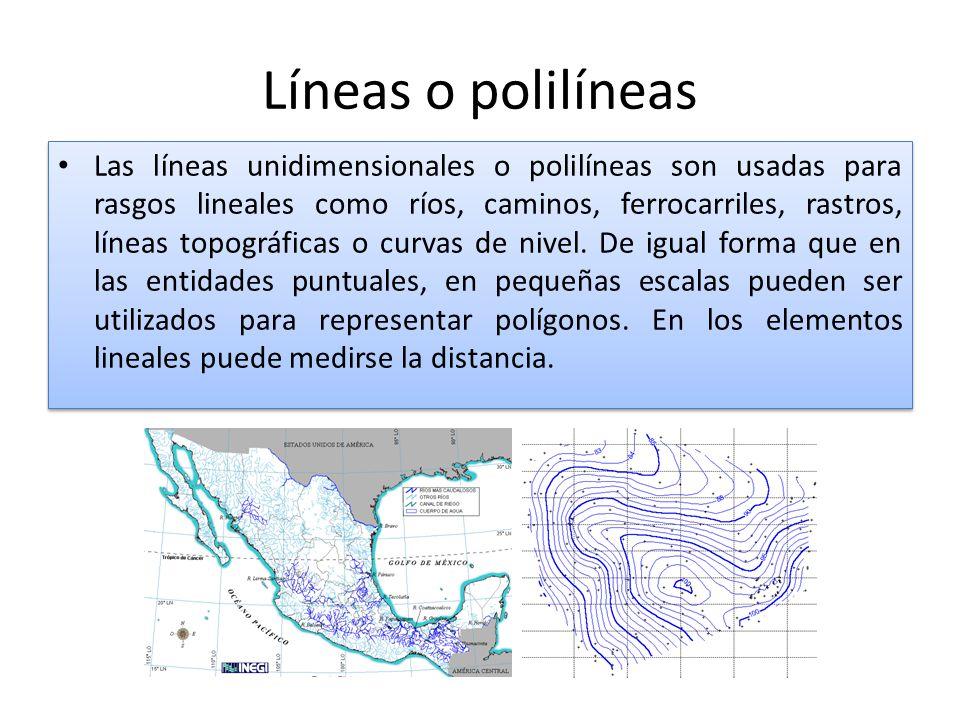 Líneas o polilíneas Las líneas unidimensionales o polilíneas son usadas para rasgos lineales como ríos, caminos, ferrocarriles, rastros, líneas topográficas o curvas de nivel.