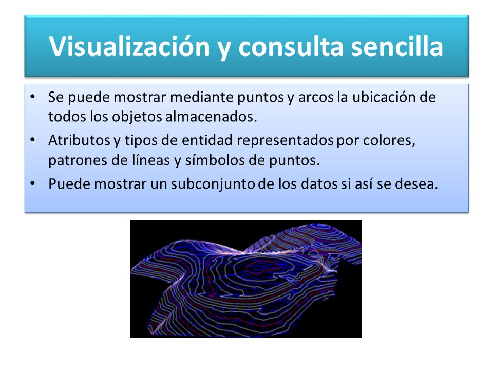 Visualización y consulta sencilla Se puede mostrar mediante puntos y arcos la ubicación de todos los objetos almacenados.