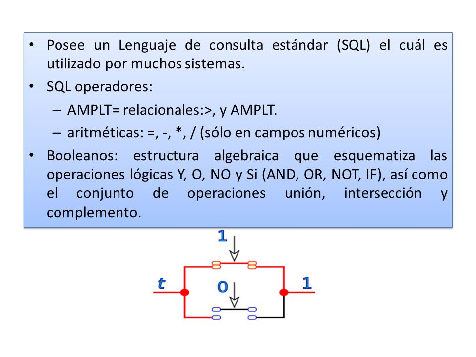 Posee un Lenguaje de consulta estándar (SQL) el cuál es utilizado por muchos sistemas.