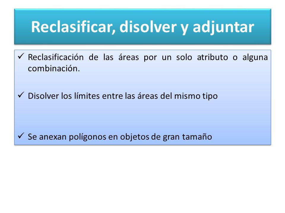Reclasificar, disolver y adjuntar Reclasificación de las áreas por un solo atributo o alguna combinación.