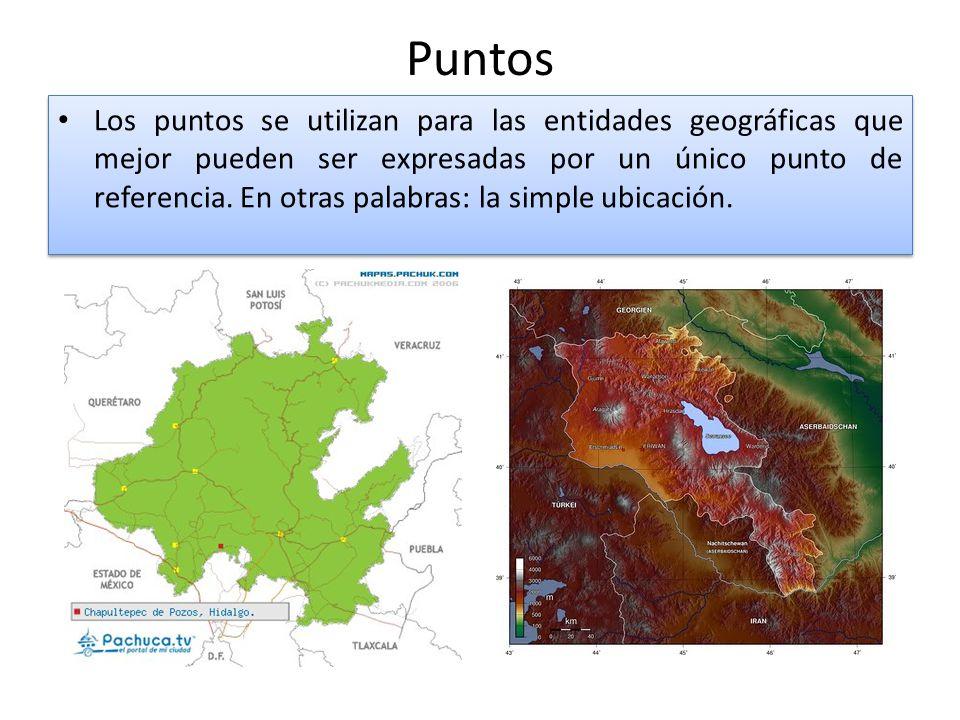 Puntos Los puntos se utilizan para las entidades geográficas que mejor pueden ser expresadas por un único punto de referencia.