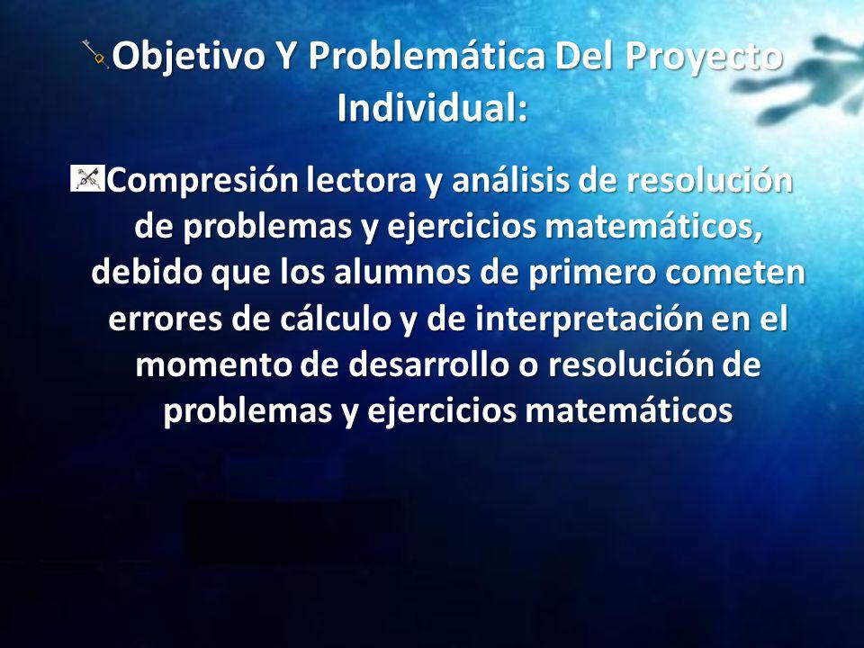 Objetivo Y Problemática Del Proyecto Individual: Compresión lectora y análisis de resolución de problemas y ejercicios matemáticos, debido que los alu
