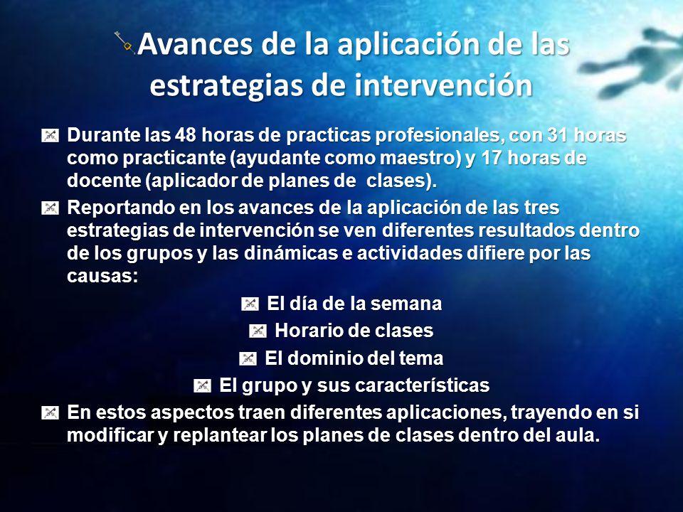 Avances de la aplicación de las estrategias de intervención Durante las 48 horas de practicas profesionales, con 31 horas como practicante (ayudante c