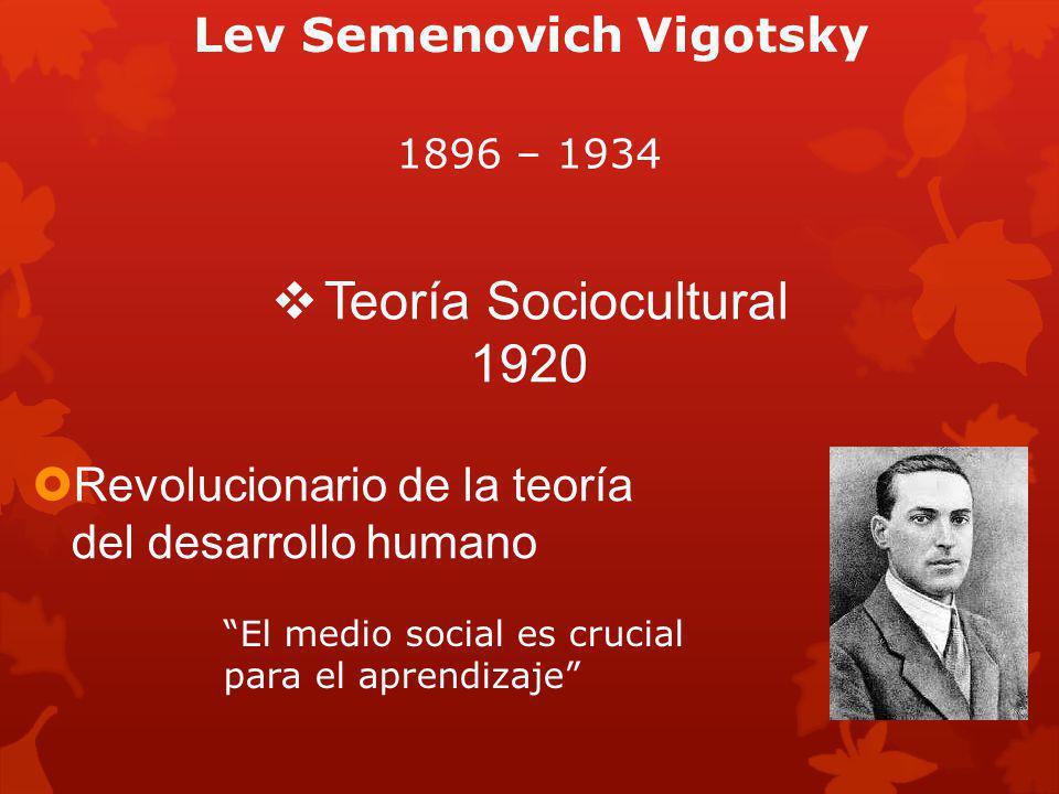 Lev Semenovich Vigotsky Revolucionario de la teoría del desarrollo humano Teoría Sociocultural 1920 El medio social es crucial para el aprendizaje 1896 – 1934