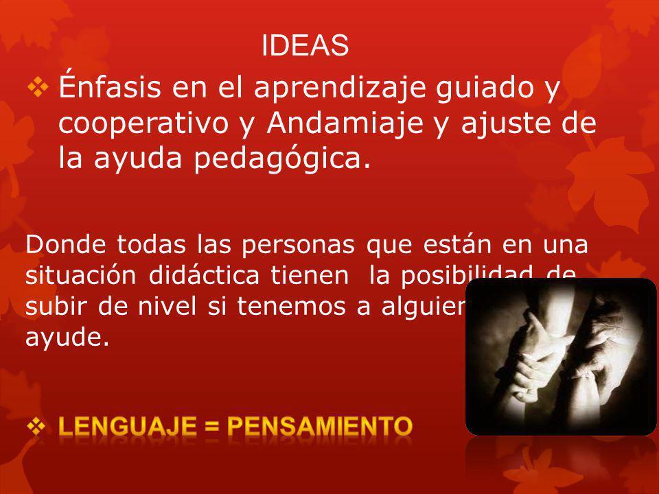 Énfasis en el aprendizaje guiado y cooperativo y Andamiaje y ajuste de la ayuda pedagógica.