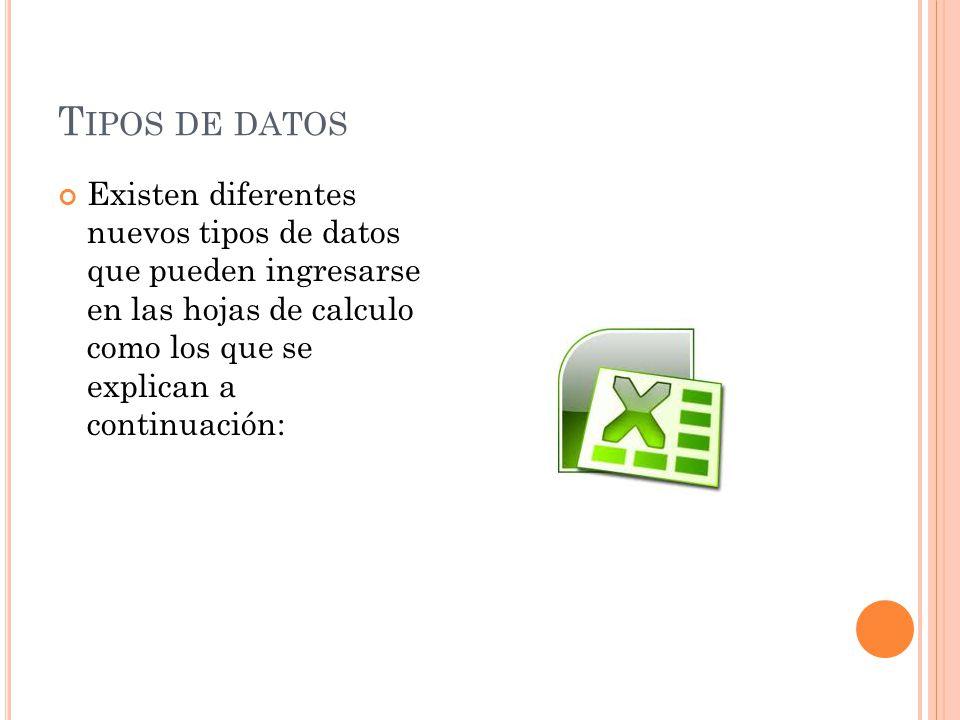T IPOS DE DATOS Existen diferentes nuevos tipos de datos que pueden ingresarse en las hojas de calculo como los que se explican a continuación: