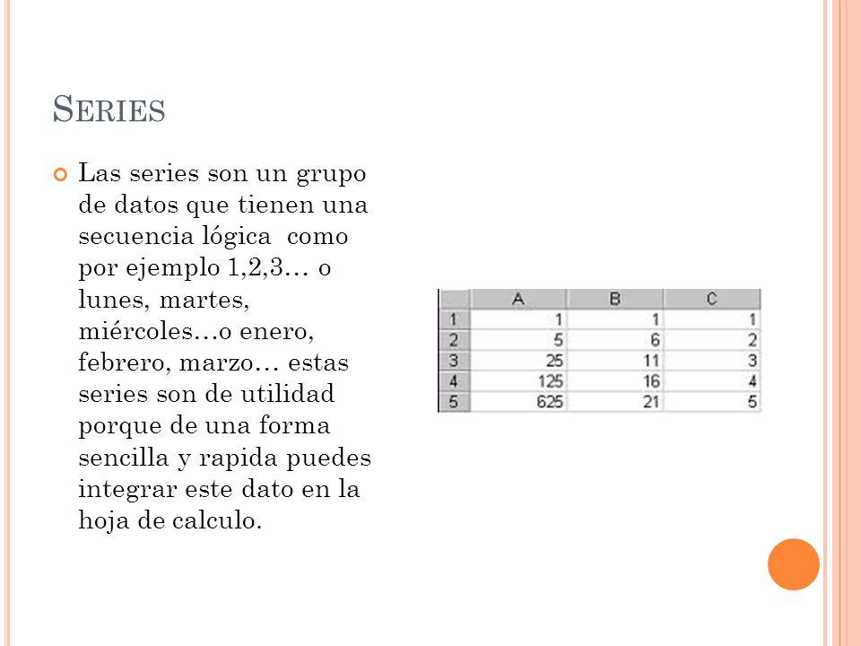 S ERIES Las series son un grupo de datos que tienen una secuencia lógica como por ejemplo 1,2,3… o lunes, martes, miércoles…o enero, febrero, marzo… estas series son de utilidad porque de una forma sencilla y rapida puedes integrar este dato en la hoja de calculo.