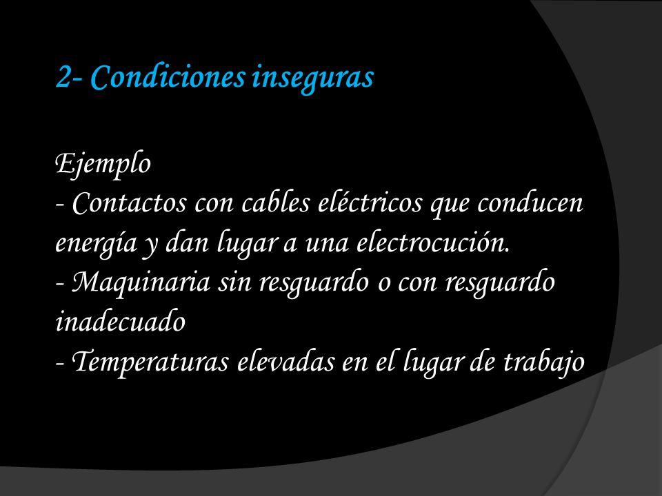 2- Condiciones inseguras Ejemplo - Contactos con cables eléctricos que conducen energía y dan lugar a una electrocución. - Maquinaria sin resguardo o