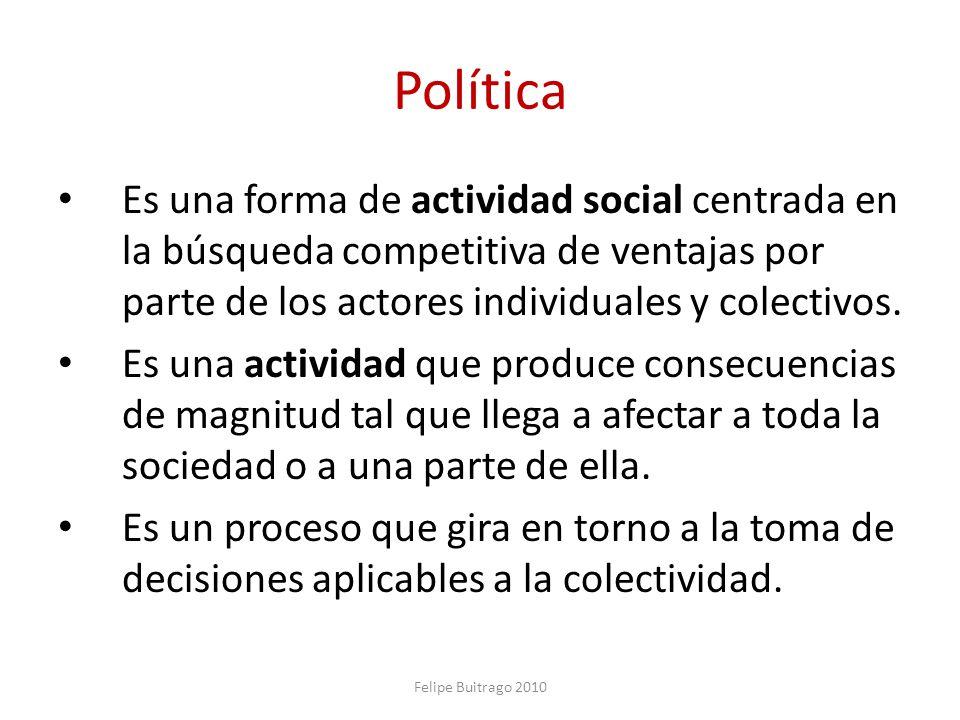 Política Es una forma de actividad social centrada en la búsqueda competitiva de ventajas por parte de los actores individuales y colectivos. Es una a