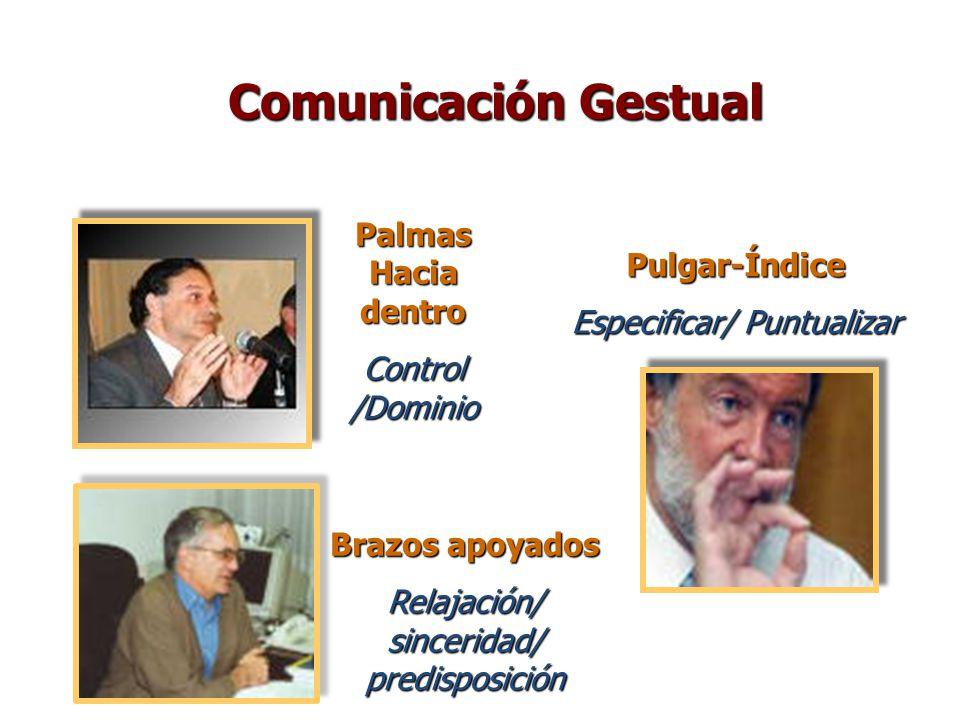 Palmas Hacia dentro Control /Dominio Brazos apoyados Relajación/ sinceridad/ predisposición Pulgar-Índice Especificar/ Puntualizar Comunicación Gestua