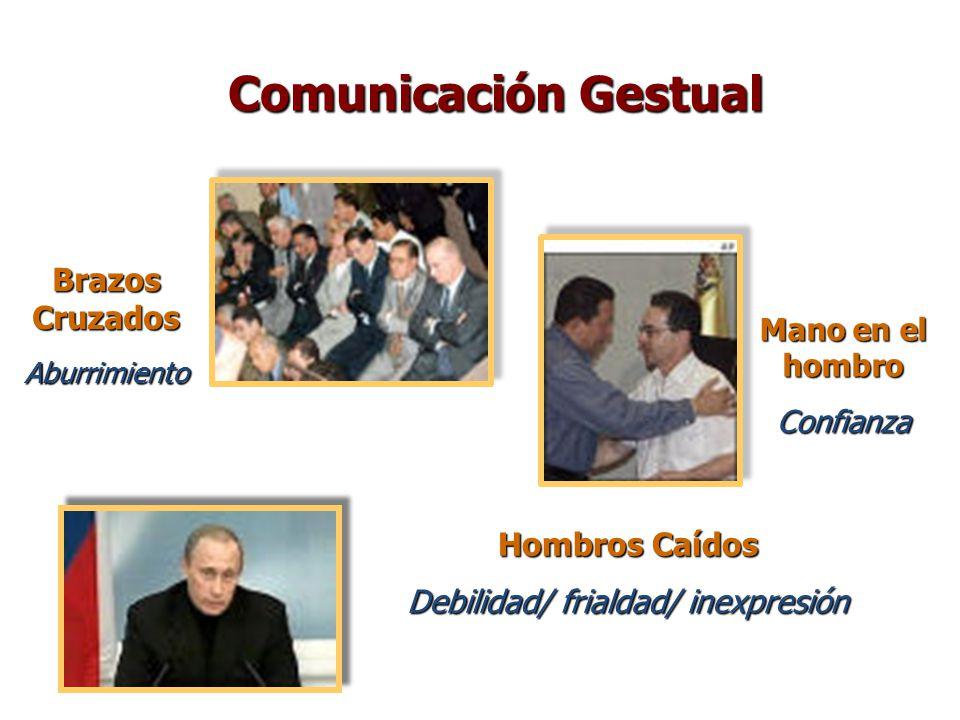 Brazos Cruzados Aburrimiento Mano en el hombro Confianza Hombros Caídos Debilidad/ frialdad/ inexpresión Comunicación Gestual