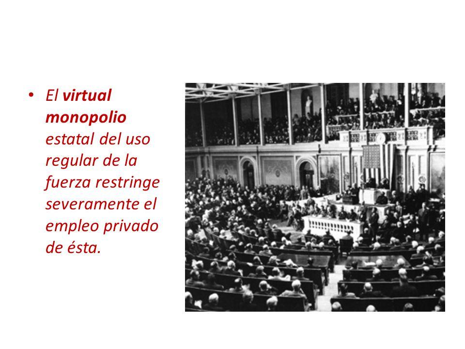 Política nacional y política internacional El virtual monopolio estatal del uso regular de la fuerza restringe severamente el empleo privado de ésta.