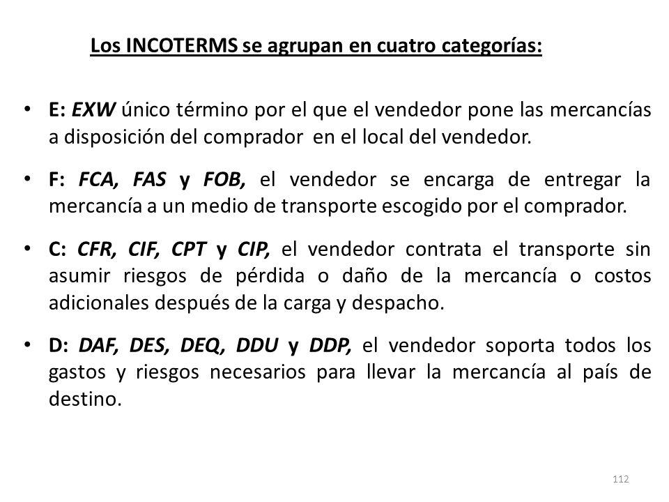 112 Los INCOTERMS se agrupan en cuatro categorías: E: EXW único término por el que el vendedor pone las mercancías a disposición del comprador en el l
